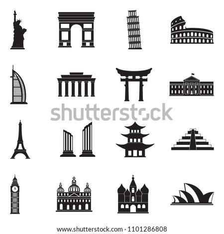 Landmarks Of The World Icons. Black Flat Design. Vector Illustration.