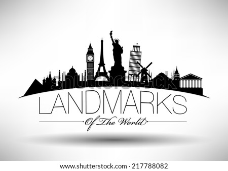 Landmarks of the World Typographic Design