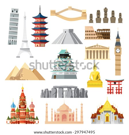 landmarks set in flat design
