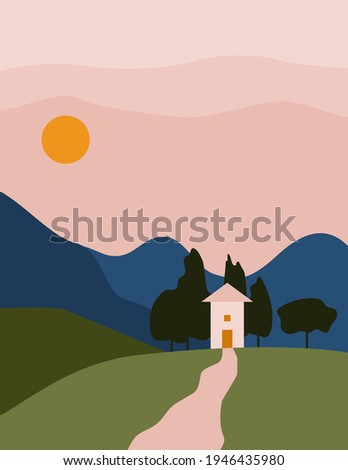 landscape abstract boho with