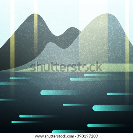 landscape  abstract retro  with ...