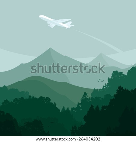 landscape and a plane vector