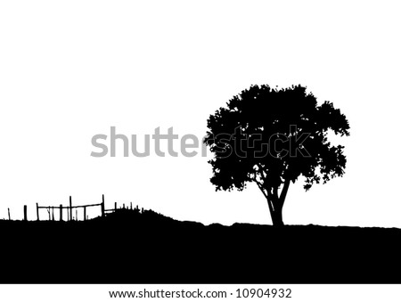 landscape and tree silhouette