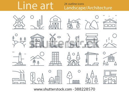 Landscape Architecture Outline Icons Thin Line Stock Vector