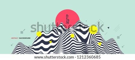 Landscape background. Terrain. Asian vector illustration.
