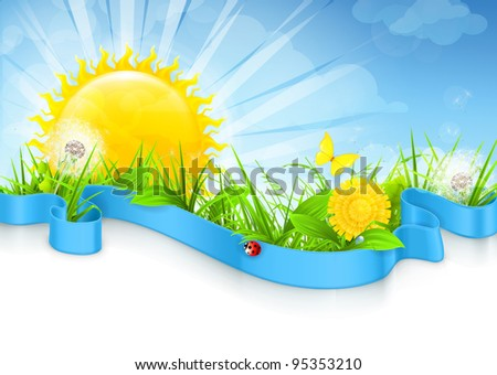 Landscape background, vector