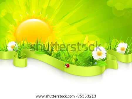 Landscape background, vector - stock vector