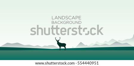 Landscape background with deer on the horizon. Vector illustration