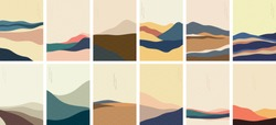 Landscape background with Japanese pattern vector. Mountain template with curve elements in vintage style.