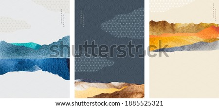 Landscape background with Japanese wave pattern. Abstract template with geometric pattern. Mountain layout design in Asian style.