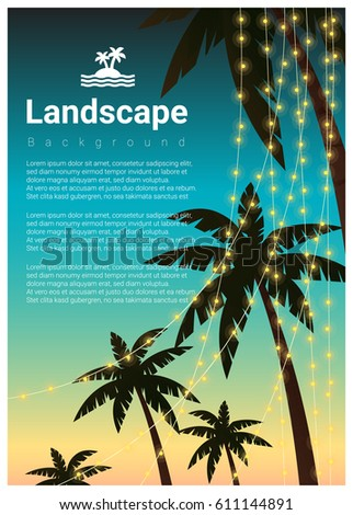 landscape background with palm