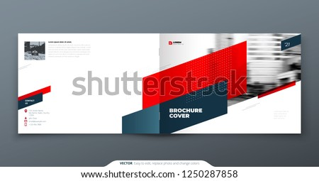Landscape Brochure design. Red corporate business template brochure, report, catalog, magazine. Brochure layout modern with dynamic shape abstract background. Creative brochure vector concept