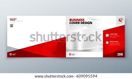 Landscape Brochure design. Red Corporate business template for brochure report catalog magazine book booklet. Horizontal layout with modern elements and abstract background. Creative vector concept