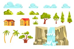 Landscape constructor set. Clouds, various trees, residential buildings, waterfall on rocky cliff. Collection of natural elements for landscaping design. Graphic vector illustration.