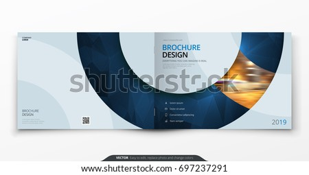 Landscape cover design. Blue corporate business rectangle cover template brochure, report, catalog, magazine. Modern cover layout circle shape abstract background. Creative cover vector concept