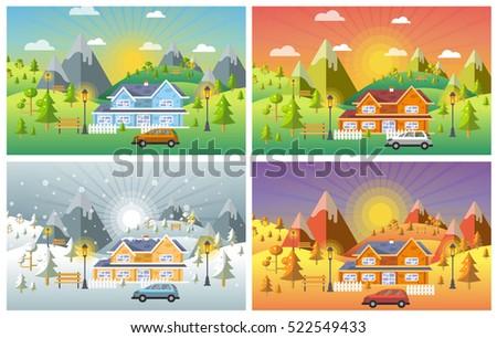 landscape design set with