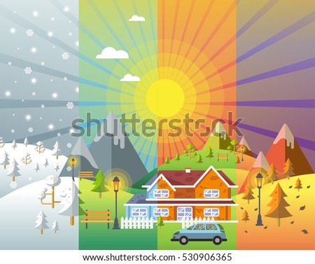 landscape design set with Winter, Spring, Summer, Autumn. houses, 4 seasons set.