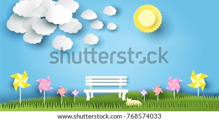 stock-vector-landscape-design-with-bench-on-grass-sun-cloud-cat-paper-art-style-on-pastel-color-background