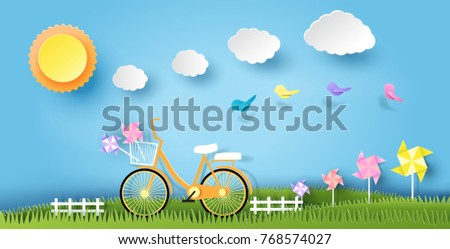 landscape design with bicycle on grass, sun, cloud, paper art style, on pastel color background. vector illustration