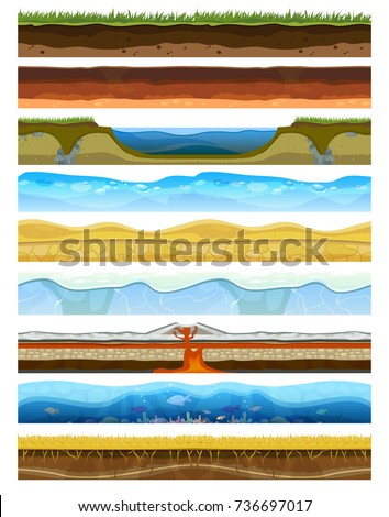Landscape earthy slice soil section mountains with water geological land underground nature cross land ground vector illustration.