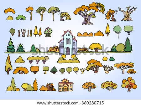 landscape elements vector set