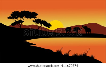 Landscape elephant of silhouette at the sunset