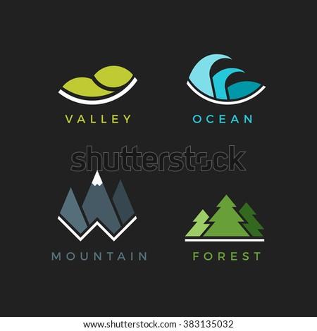landscape flat icons vector