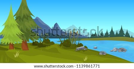 landscape forest mountain river