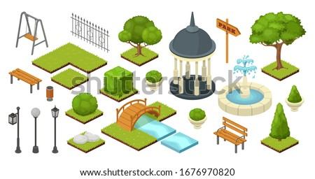 landscape garden outdoor nature elements in vector isometric park illustration isolated on white. Gardening ecology summer set with trees, bushes, bench and bridge. Gardening alcove, lantern, fence