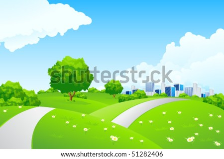 Landscape - green hills with tree cityscape and cloudscape