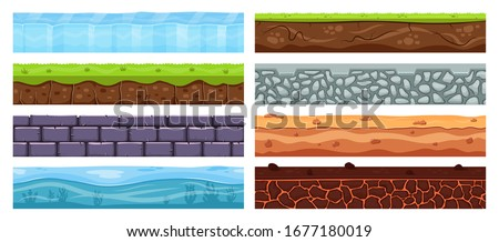 Landscape grounds. Cartoon dirt clay, archeology soil layers, dirt texture with buried stones, grass, landscape elements vector illustration set. Background layer landscape, nature soil and rock