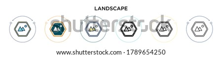 landscape icon in filled  thin