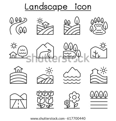 Landscape icon set in thin line style