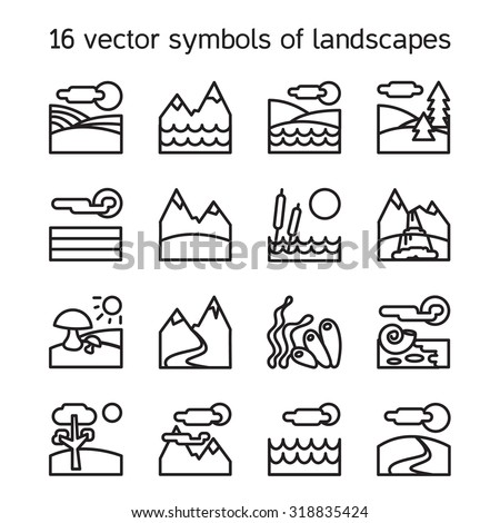 Landscape icons collection. Nature symbols and paysages in rectangle form. Vector