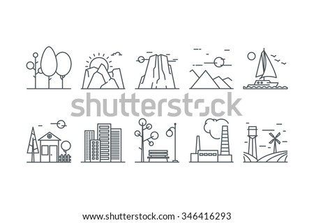 Landscape icons on a white background. Line art. Stock vector.