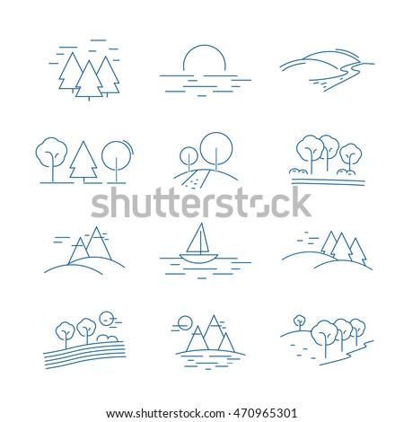 landscape icons set   isolated
