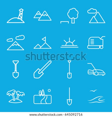 Landscape icons set. set of 16 landscape outline icons such as lawn mower, shovel, sun rise, palm, mountain, sea and gull, landscape, observation military tower