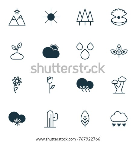 landscape icons set with tree