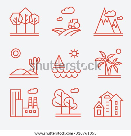 landscape icons  thin line