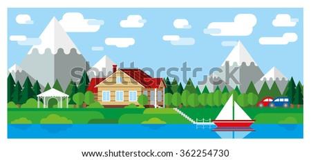 landscape illustration house