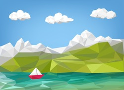 landscape illustration - mountain, lake and sailing boat low poly graphic - vacation background