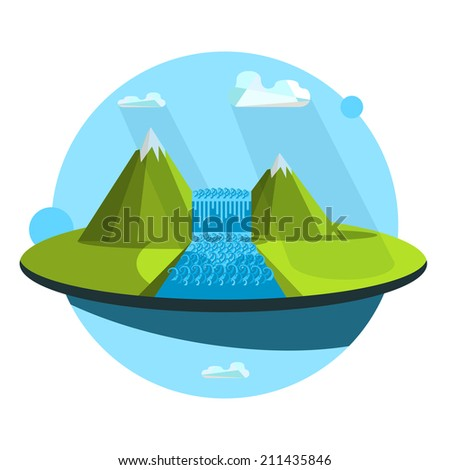 Landscape illustration. Mountain river and waterfall. Flat design icon