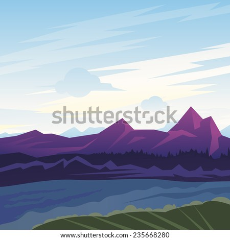 Landscape illustration, mountains in morning with fog in valley, nature background