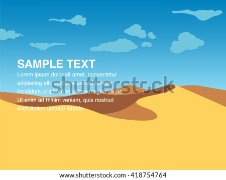 Landscape illustration of yellow sand dunes at desert with copy space in the centre. You can use it like background for your logo, banner, or for landing page.