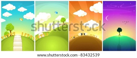 landscape in different time of the day