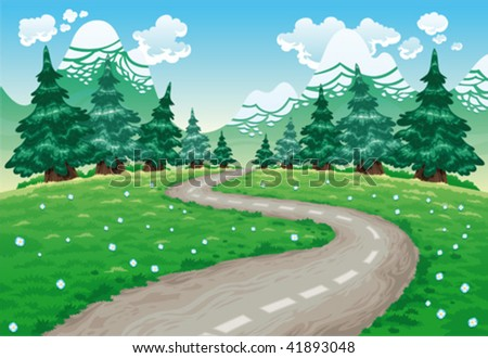 landscape in nature cartoon