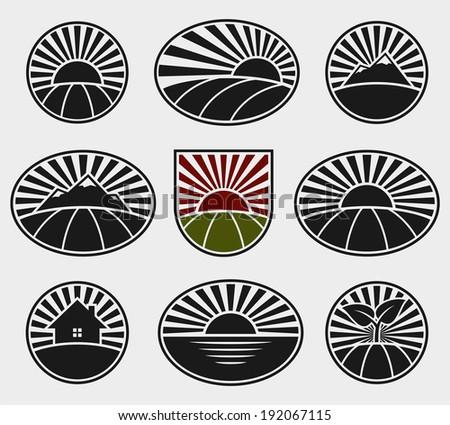 landscape labels set vector