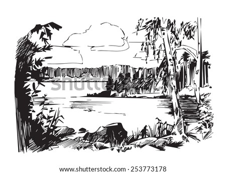 Landscape. Lake. Forest Lake. Drawing, sketch.