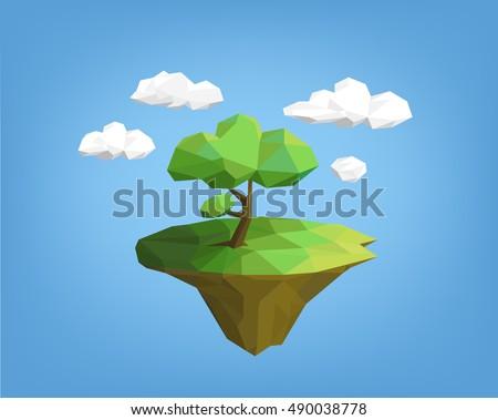 landscape low poly style   tree