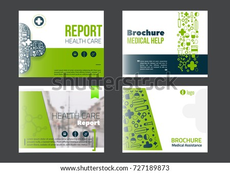 Landscape Medical Brochure Cover Template set in green color. Flyer with inline medicine icons, Modern power point Concept for slider. Vector report